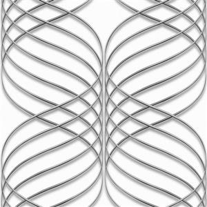 Dundee Deco Falkirk Ophia Wallpaper Roll - Abstract Trellis - Silver and White