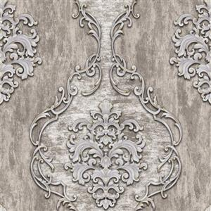 Dundee Deco Falkirk Ophia Wallpaper Roll - Damask Vines - Silver and Grey