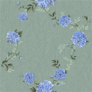Dundee Deco Falkirk Ophia Wallpaper Roll - Peonies - Cerulean Blue and Sage Green