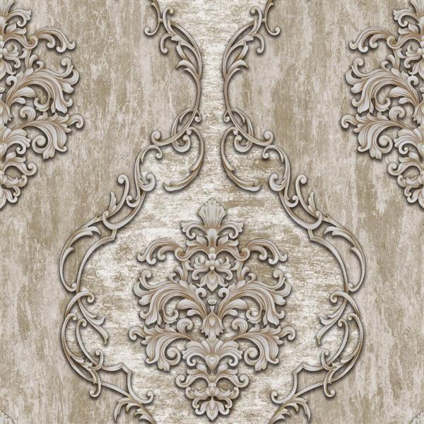 Dundee Deco Falkirk Ophia Wallpaper Roll - Damask Vines - Beige