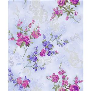 Dundee Deco Falkirk Ophia Wallpaper Roll - Flowers - Violet and Pink