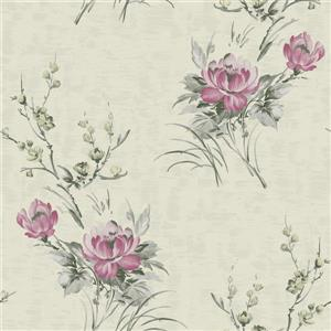Dundee Deco Falkirk Ophia Wallpaper Roll - Flowers - Pink and Beige