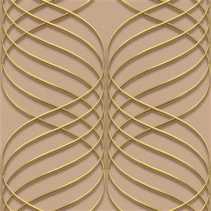 Dundee Deco Falkirk Ophia Wallpaper Roll - Abstract Trellis - Gold and Beige