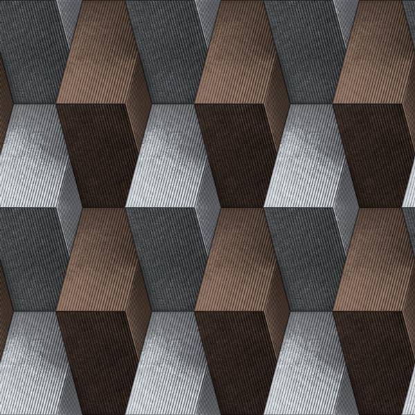 Dundee Deco Falkirk Ophia Wallpaper Roll - Blocks - Brown and Silver