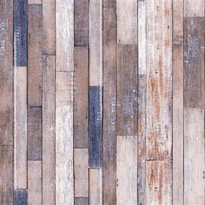 Dundee Deco Falkirk Ophia Wallpaper Roll - Retro Planks - Brown and Violet