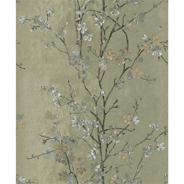 Dundee Deco Falkirk Ophia Wallpaper Roll - Flowers - Grey and Green