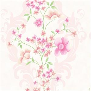 Dundee Deco Falkirk Ophia Wallpaper Roll - Flowers and Vines - Pink and Beige