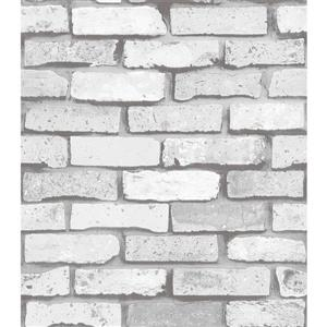 Dundee Deco Falkirk Ophia Wallpaper Roll - Bricks - Light Grey and White