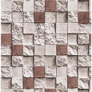 Dundee Deco Falkirk Ophia Wallpaper Roll - Square Bricks - Beige and Dark Red