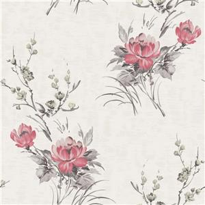 Dundee Deco Falkirk Ophia Wallpaper Roll - Flowers - Red and Beige