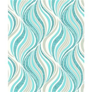 Dundee Deco Falkirk Ophia Wallpaper Roll - Waves - Teal and Light Grey