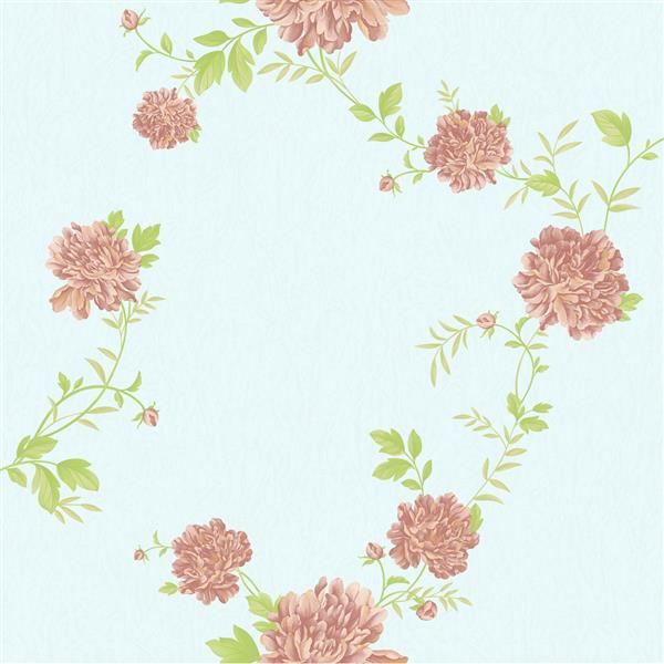 Dundee Deco Falkirk Ophia Wallpaper Roll - Peonies - Pink and Sky Blue