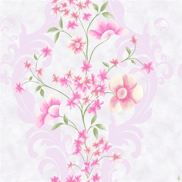 Dundee Deco Falkirk Ophia Wallpaper Roll - Flowers and Vines - Pink and Off-White
