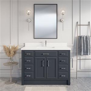 Meuble-lavabo Calumet, comptoir en quartz, 48 po, gris poivre