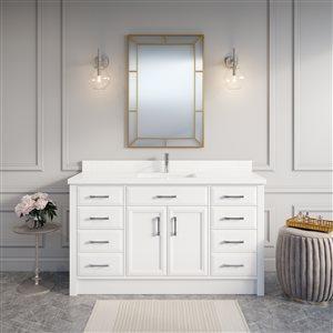 Meuble-lavabo Calumet, comptoir en quartz, 60 po, blanc