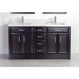 Spa Bathe Calumet Vanity and Sink - 63-in. - Quartz Top - Espresso