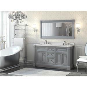 Meuble-lavabo Avella, comptoir en quartz, 63 po, gris Oxford
