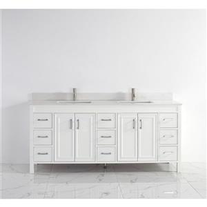 Meuble-lavabo Cora, comptoir en quartz, 75 po, blanc