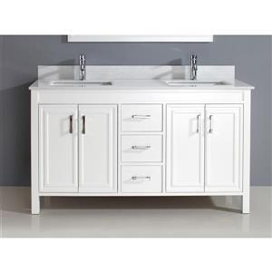 Meuble-lavabo Cora, comptoir en quartz, 60 po, blanc