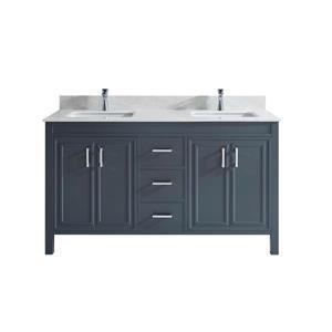 Meuble-lavabo Cora, comptoir en quartz, 60 po, gris poivre