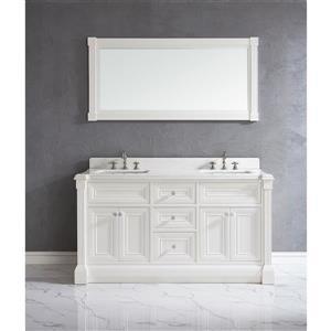 Meuble-lavabo Avella, comptoir en quartz, 63 po, blanc