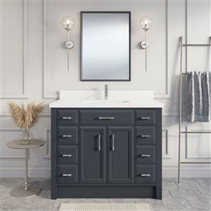 Meuble-lavabo Calumet, comptoir en quartz, 42 po, gris poivre