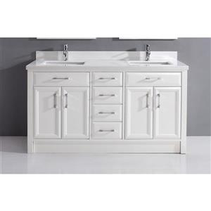Meuble-lavabo Calumet, comptoir en quartz, 63 po, blanc