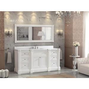 Meuble-lavabo Avella, comptoir en quartz, 72 po, blanc