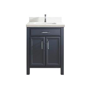 Meuble-lavabo Calumet, comptoir en quartz, 28 po, gris poivre