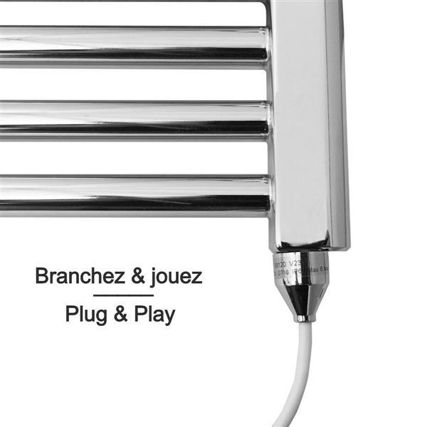Chauffe-serviette électrique Quebic Curved d'American Towel Rack, chrome poli, 61 po x 23,62 po