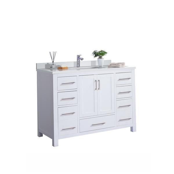 GEF Willow Bathroom Vanity with Medicine Cabinet - White Quartz Top - 48-in - White