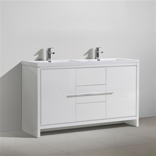 GEF Ember Bathroom Vanity - Acrylic Top - 60-in - White