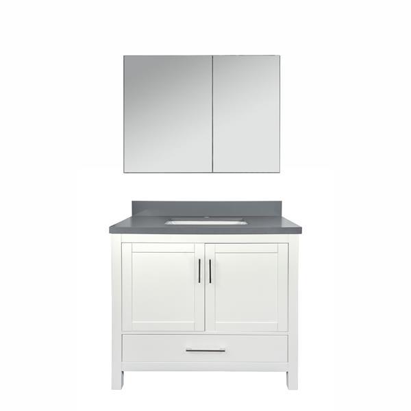 GEF Willow Bathroom Vanity with Medicine Cabinet - Quartz Top - 36-in - White