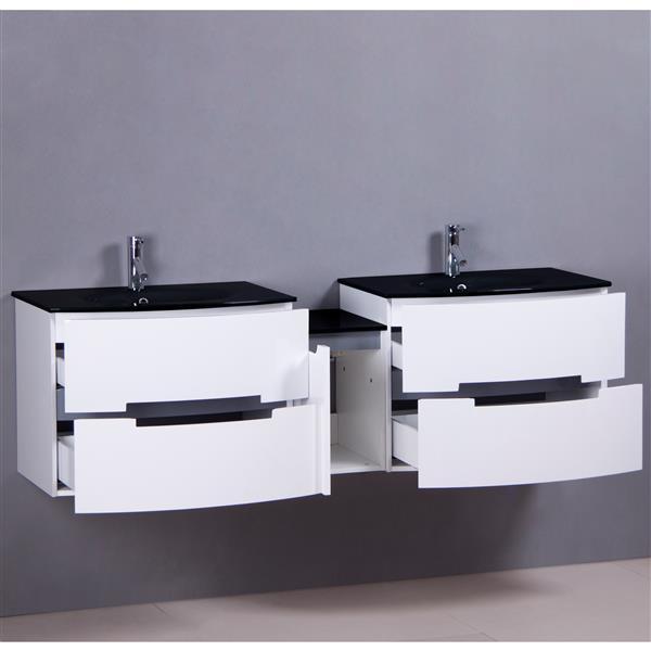 Meuble-lavabo double avec 2 miroirs Leila de GEF, comptoir en verre, 72 po, blanc