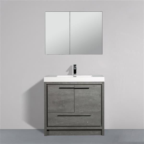 White Black Gray Floating Single Sink 31 Bathroom Vanity Set With Medicine Cabinet Slate Stone Bathroom Vanities Bath Faucets