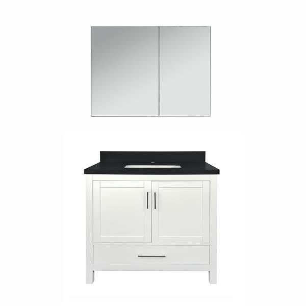 Meuble-lavabo simple avec armoire à pharmacie Willow, comptoir en quartz noir, 36 po, blanc