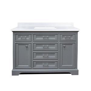 GEF Brielle Bathroom Vanity - Snow-White Quartz Top - 48-in - Grey