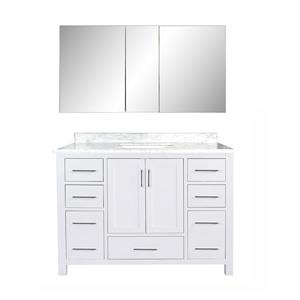 GEF Willow Bathroom Vanity with Medicine Cabinet - Natural marble Top - 48-in - White