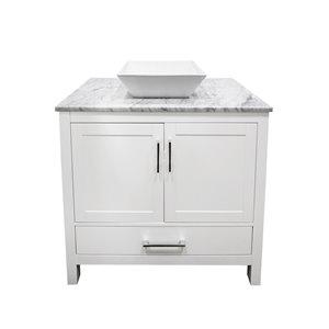 GEF Ember Bathroom Vanity - Natural marble Top - 36-in - White