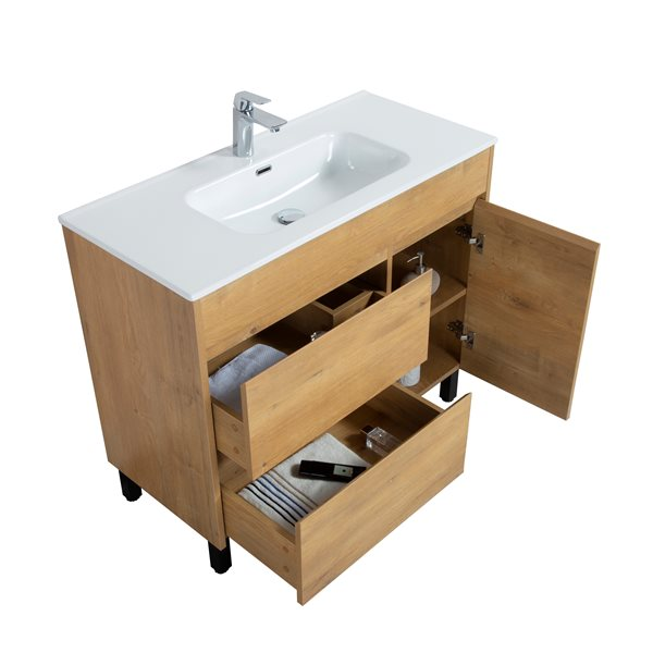 GEF Ava Bathroom Vanity - Porcelain Top - 40-in - Brown