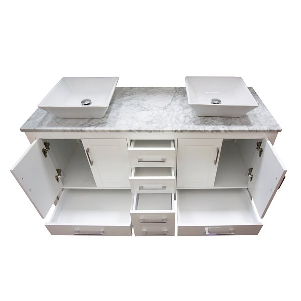 GEF Mackenzi Bathroom Vanity - Natural marble Top - 60-in - White