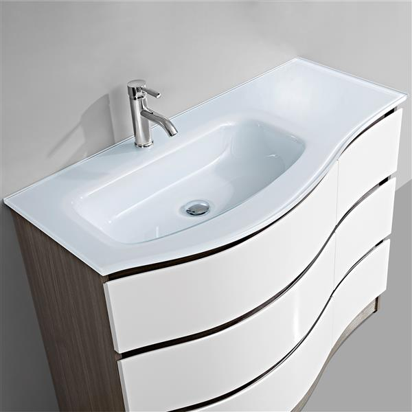 GEF Mila Bathroom Vanity - Glass Top - 43-in - Brown and White