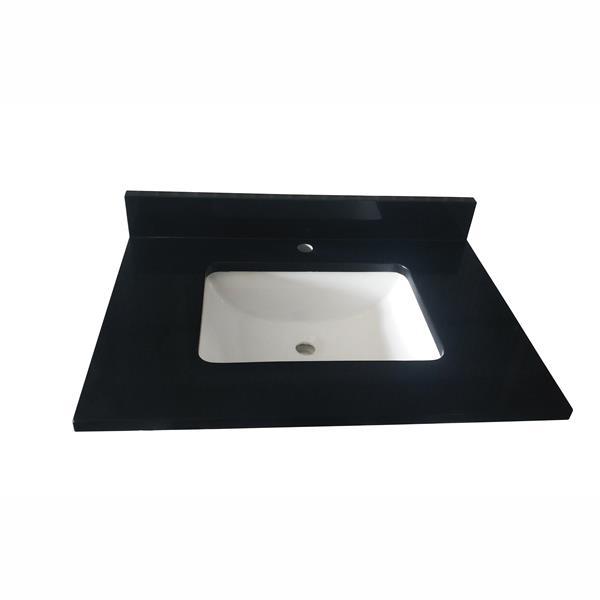 Meuble-lavabo simple Catalina de GEF, comptoir en quartz, 30 po, gris