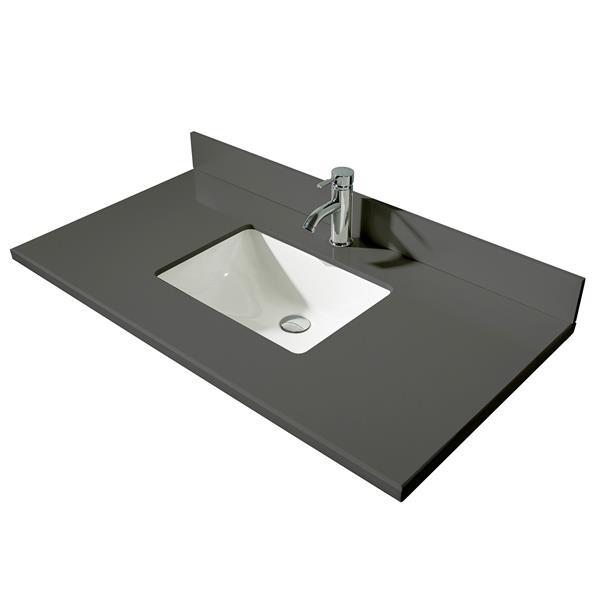 GEF Brielle Bathroom Vanity - Grey Quartz Top - 48-in - Grey