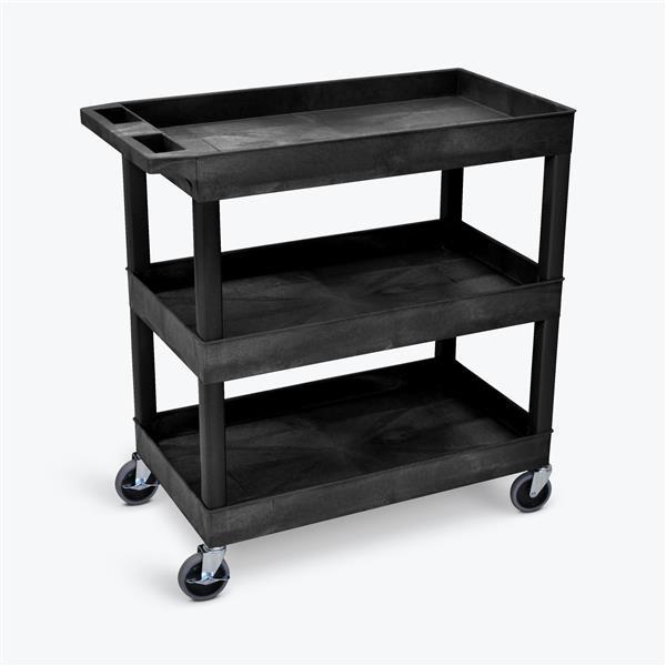 Luxor 3 Shelf Utility Tub Cart - Black