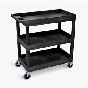 Luxor 3 Shelf Utility Tub Cart - Black