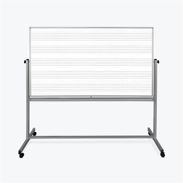 Luxor Mobile Double Sided Music Whiteboard - 72-in x 48-in