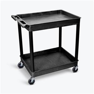 Luxor Large Tub Cart - Two Shelves - Black