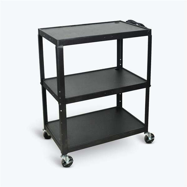 Luxor Extra-Large Adjustable-Height Steel AV Cart - Three Shelves - Black