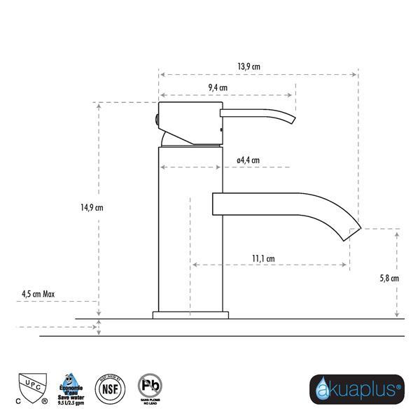 Robinet de lavabo ELITE  akuaplus® à 1 levier, chrome